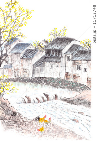 Traditional Chinese painting of country landscpe 11713748