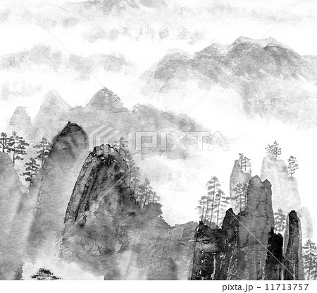 Chinese painting of mountain and cloud 11713757