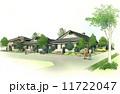 町並み 水彩画 街路樹のイラスト 11722047