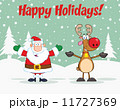 Holiday Greetings With Santa Claus And Reindeer 11727369