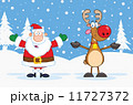 Santa Claus And Reindeer Cartoon Characters 11727372