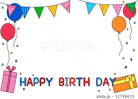 誕生日フレーム ガーランドと風船 カラフルのイラスト素材 11748615