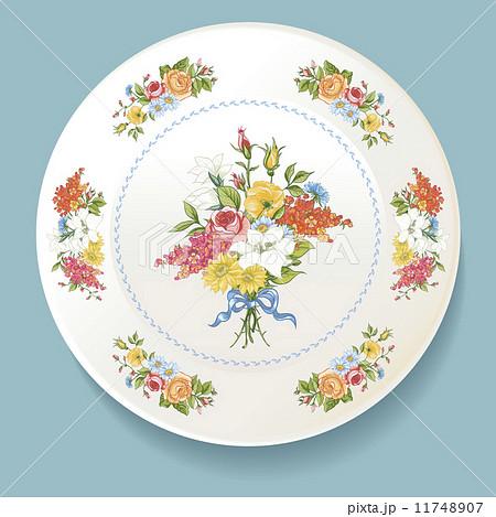 Baroque Bouquet of wildflowers on white plateのイラスト素材 [11748907] - PIXTA
