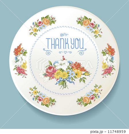 Baroque bouquet of wildflowers on white plateのイラスト素材 [11748959] - PIXTA