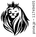 royal lion with crown - animal king head with long mane black and white vector design 11749405