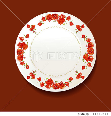 Beautiful bouquet of red poppy on a white plateのイラスト素材 [11750643] - PIXTA
