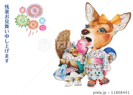 花火と子鹿とリスの夏祭りの残暑見舞い状のイラスト素材 [11808441] - PIXTA