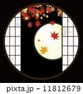 丸窓 紅葉 満月のイラスト 11812679