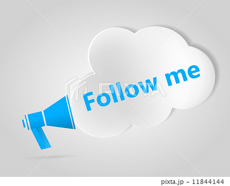Blue megaphone and cloud with words Follow Me 11844144