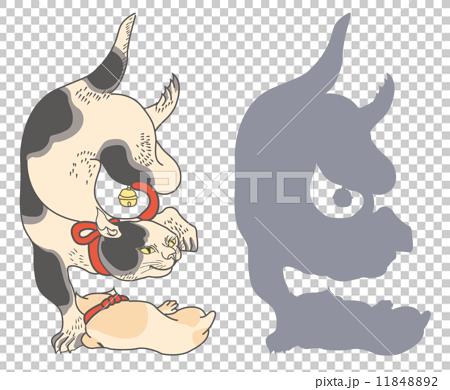 歌川国芳 絵鏡台合かゞ身(猫/しゝ)のイラスト