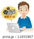 迷惑メール パソコン 男性のイラスト 11855867