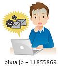 悪質メール パソコン 男性のイラスト 11855869