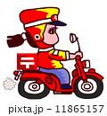 郵便屋さん バイク 女性のイラスト 11865157