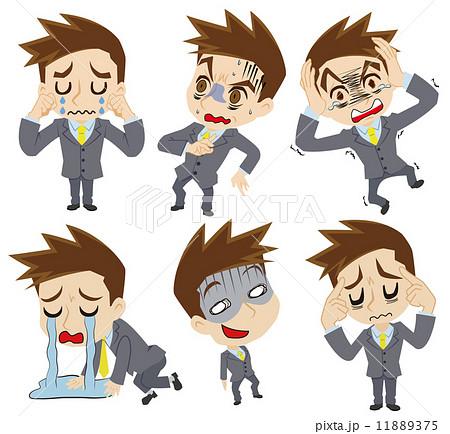 ネガティブな感情の二頭身ビジネスマンのイラスト素材 11889375 Pixta