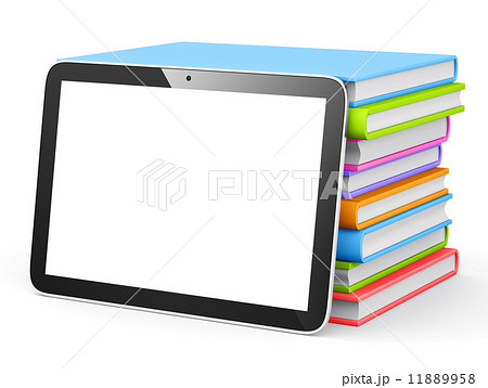 tablet with stack of books.のイラスト素材 [11889958] - PIXTA