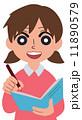女の子 ノートをとる 11890579