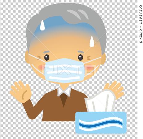 マスク顔のシニア男性 11917105