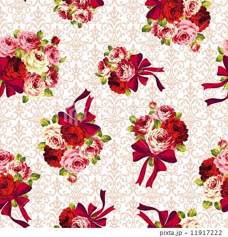 バラとリボンのパターン 11917222