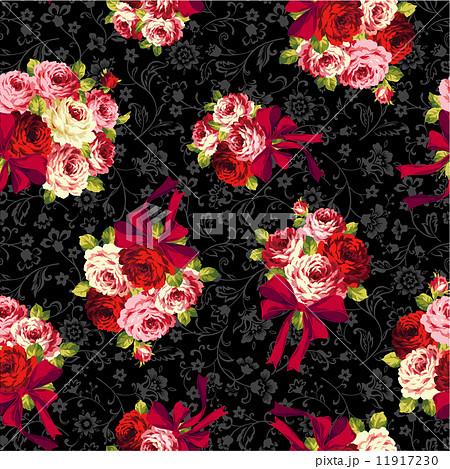バラとリボンのパターン 11917230