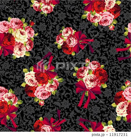 バラとリボンのパターン 11917231