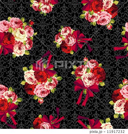 バラとリボンのパターン 11917232
