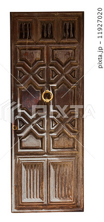 Old wooden door. Isolated over whiteの写真素材 [11927020] - PIXTA