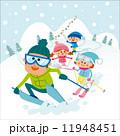 スキーを楽しむファミリー 11948451