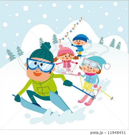 スキーを楽しむファミリーのイラスト素材 11948451 Pixta