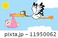Stork Delivering A Newborn Baby Girl 11950062