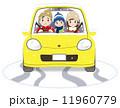 家族と普通自動車 冬 雪あり 困り顔 11960779