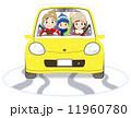 家族と普通自動車 冬 雪あり 11960780