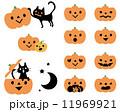 カボチャ ジャックオランタン 黒猫のイラスト 11969921
