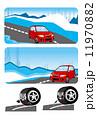 雪道 車 タイヤのイラスト 11970882