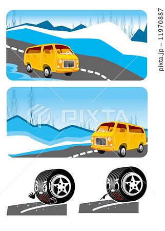 雪道,冬,雪,タイヤ,安全,運転,車 11970887
