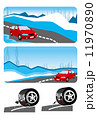 タイヤ 車 雪道のイラスト 11970890