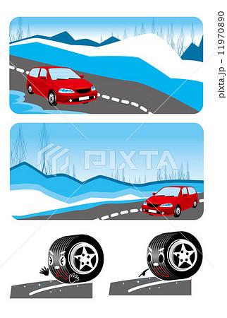 雪道,冬,雪,タイヤ,安全,運転,車 11970890