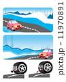 雪道 車 タイヤのイラスト 11970891