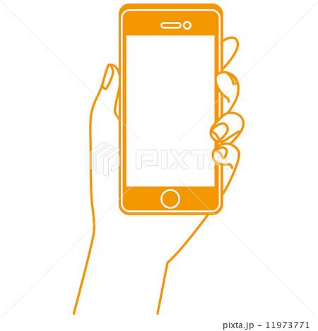 スマートフォンを持つ手 携帯電話のイラスト素材 11973771 Pixta