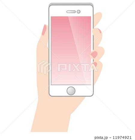 スマートフォンを持つ手 携帯電話のイラスト素材 11974921 Pixta