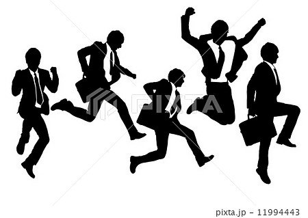 Silhouettes of happy jump and running Businessmen 11994443