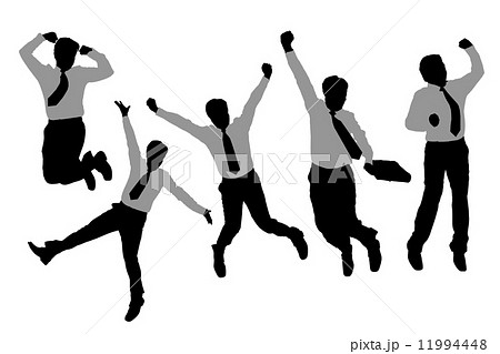 Silhouettes of happy jump and running Businessmen 11994448