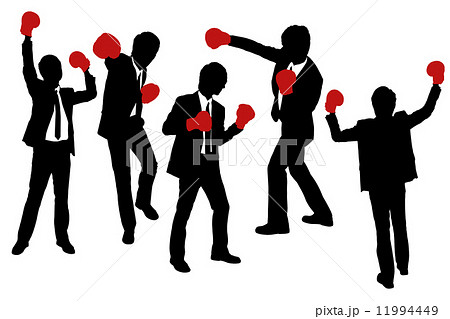 Silhouettes of Businessmen wearing boxing gloves 11994449