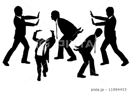 Silhouettes of Business men holding something heavy 11994455