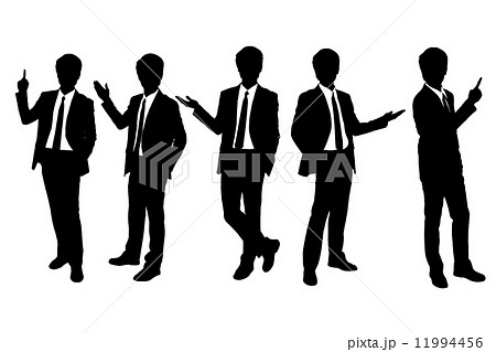 Silhouettes of business man presenting 11994456