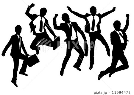 Silhouettes of happy jump and running Businessmen 11994472