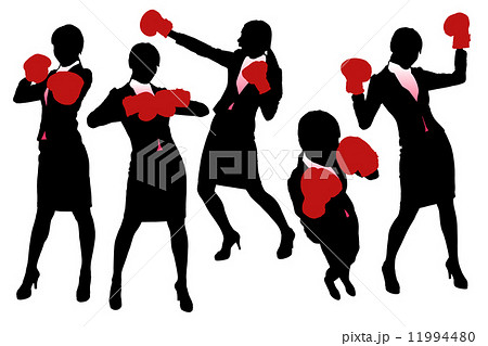 Silhouettes of Business woman boxing 11994480