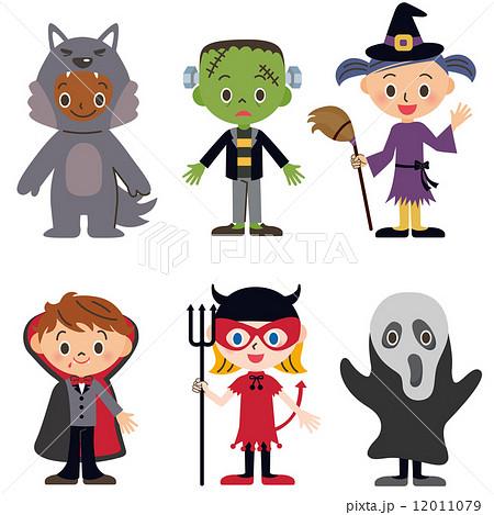 ハロウィン仮装をした子供たちのイラスト素材 12011079 Pixta