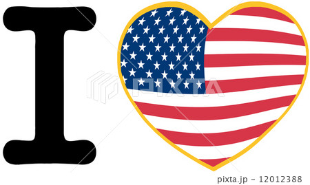 I Love America With USA Flag Heartのイラスト素材 [12012388] - PIXTA