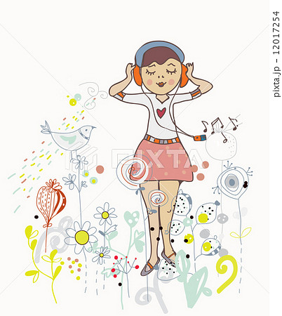 Poster of girl listening to the music with flowers, birds 12017254