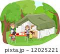 キャンプ 野営 森林のイラスト 12025221